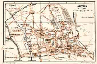 Autun city map, 1909