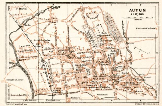 Autun city map, 1909. Use the zooming tool to explore in higher level of detail. Obtain as a quality print or high resolution image