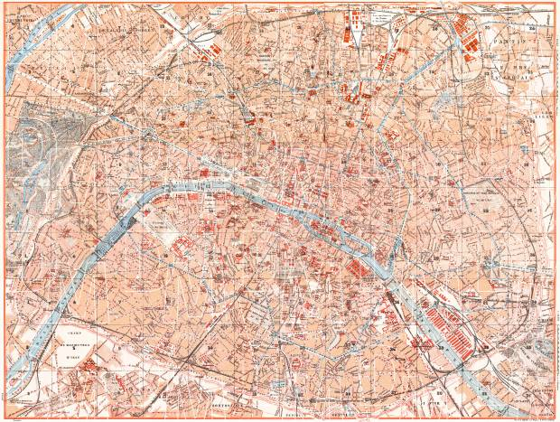 Old Map Of Paris In 1910 Buy Vintage Map Replica Poster Print Or