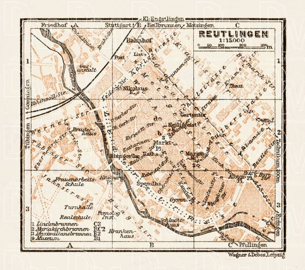 Reutlingen city map, 1909. Use the zooming tool to explore in higher level of detail. Obtain as a quality print or high resolution image