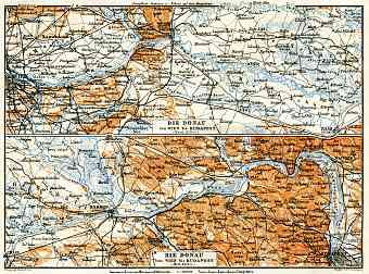Danube River course map from Vienna to Budapest, 1913