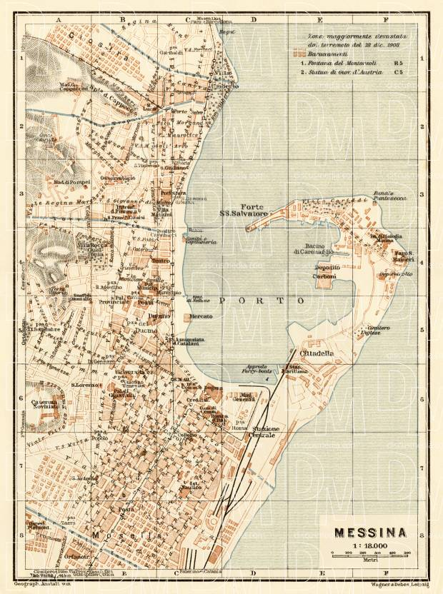 Old map of Messina in 1929 Buy vintage map replica poster print