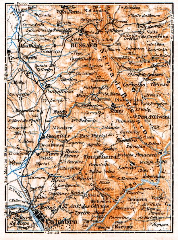 Bussaco - Coimbra district map, 1929. Use the zooming tool to explore in higher level of detail. Obtain as a quality print or high resolution image