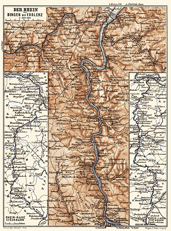 Map of the Course of the Rhine from Bingen to Coblenz, 1887