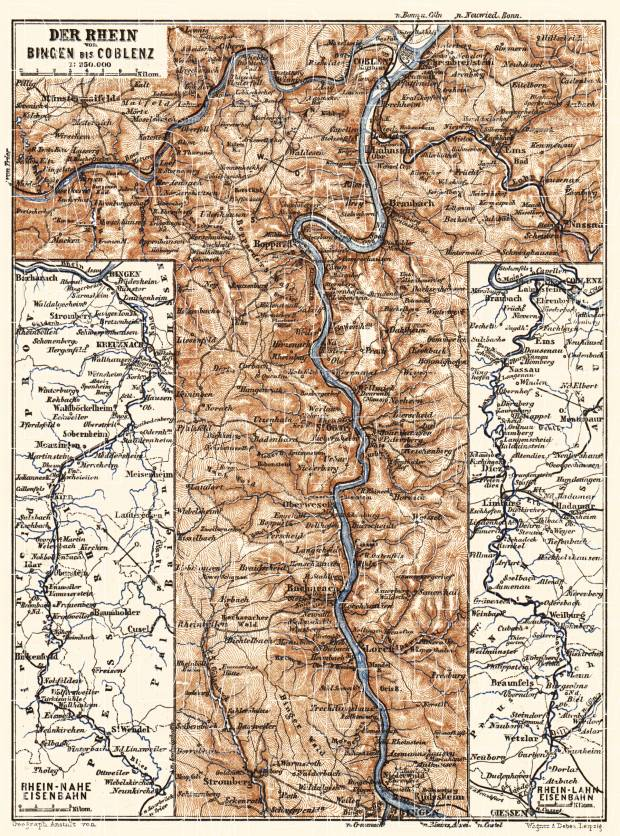 Map of the Course of the Rhine from Bingen to Coblenz, 1887. Use the zooming tool to explore in higher level of detail. Obtain as a quality print or high resolution image
