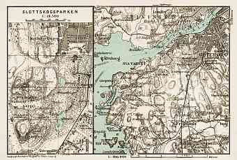 Göteborg (Gothenburg) and environs map. Slottskogsparken plan, 1929