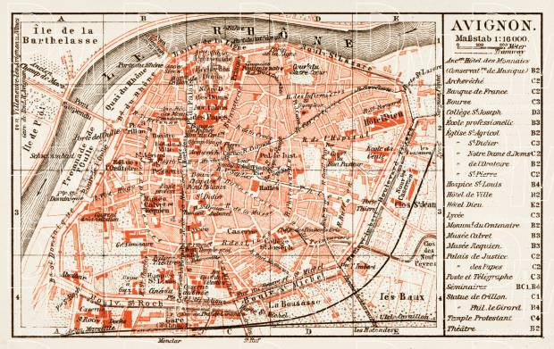 Map Of France To Print.Avignon City Map 1913