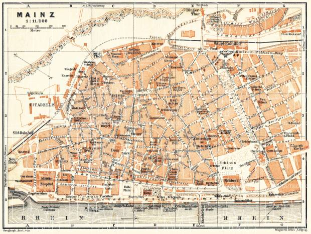 Mainz city map, 1905. Use the zooming tool to explore in higher level of detail. Obtain as a quality print or high resolution image