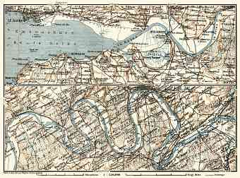 Basse-Seine, Seine from Le Havre to Louviers map, 1913