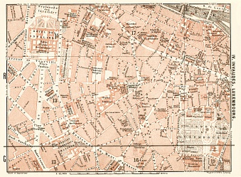 Central Paris districts map: Invalides and Luxembourg, 1903