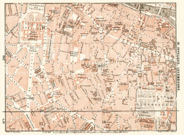 Central Paris districts map: Invalides and Luxembourg, 1903. Use the zooming tool to explore in higher level of detail. Obtain as a quality print or high resolution image