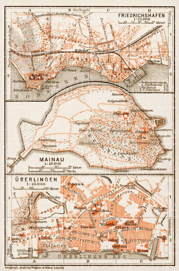 Map Of Uberlingen Germany.Friedrichshafen Mainau And Uberlingen Town Plans 1909