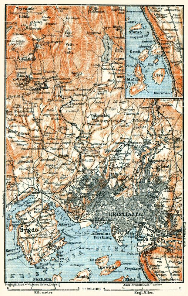 Christiania (Oslo) and environs map, 1910. Use the zooming tool to explore in higher level of detail. Obtain as a quality print or high resolution image