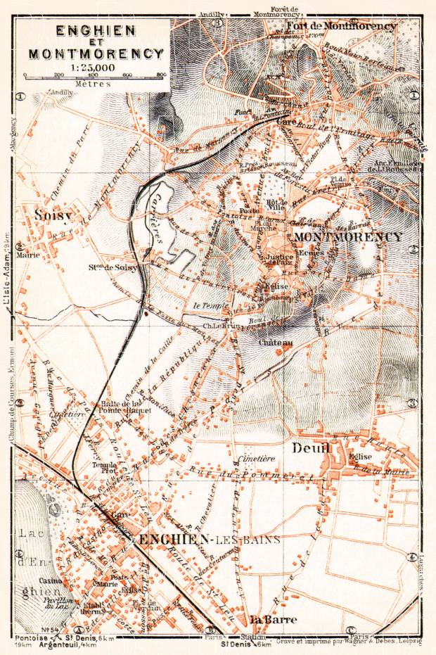 Enghien-les-Bains and Montmorency map, 1931. Use the zooming tool to explore in higher level of detail. Obtain as a quality print or high resolution image