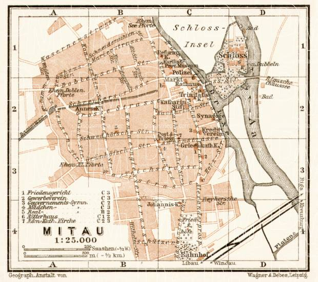 Mitau (Jelgava) city map, 1914. Use the zooming tool to explore in higher level of detail. Obtain as a quality print or high resolution image