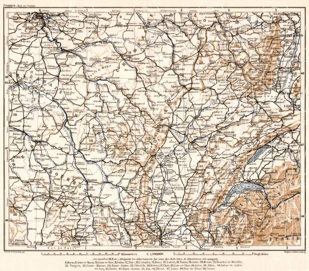 France, central part map, 1909. Use the zooming tool to explore in higher level of detail. Obtain as a quality print or high resolution image