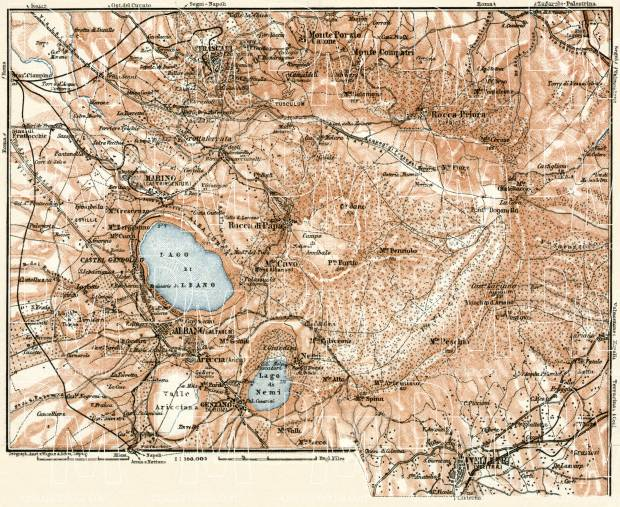 The Alban Hills (Albano Mountains, Colli Albani) map, 1909. Use the zooming tool to explore in higher level of detail. Obtain as a quality print or high resolution image