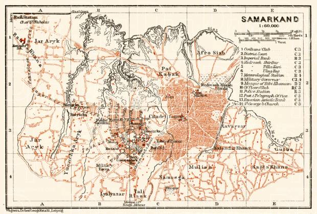 Old Map Of Samarkand In Buy Vintage Map Replica Poster Print - Samarkand map