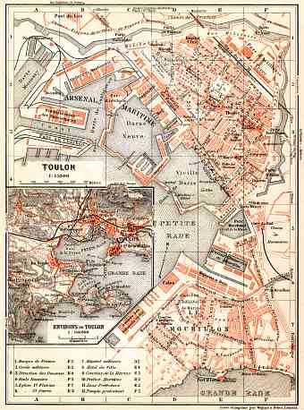 Toulon town plan. Map of the environs of Toulon, 1913
