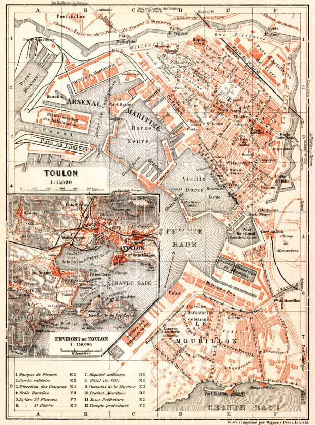 Toulon town plan. Map of the environs of Toulon, 1913. Use the zooming tool to explore in higher level of detail. Obtain as a quality print or high resolution image
