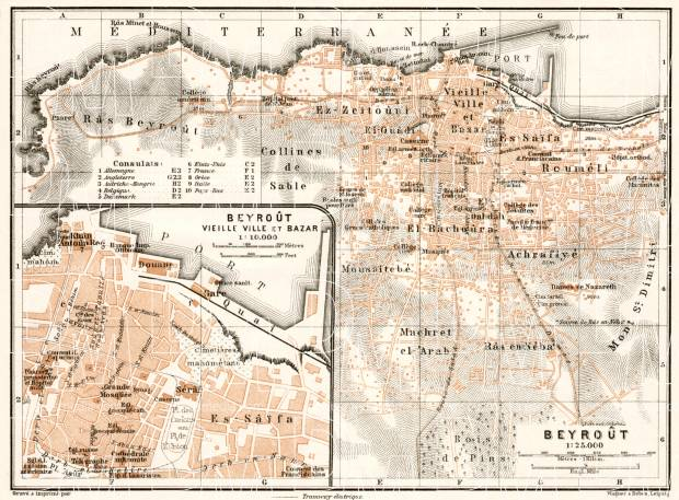 Beirut (بيروت‎) city map, 1911. Use the zooming tool to explore in higher level of detail. Obtain as a quality print or high resolution image