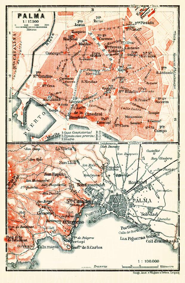 Old map of Palma Palma de Mallorca and vicinity in 1913 Buy