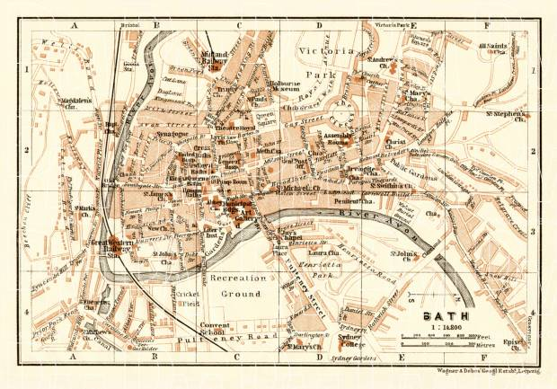 Bath city map, 1906. Use the zooming tool to explore in higher level of detail. Obtain as a quality print or high resolution image