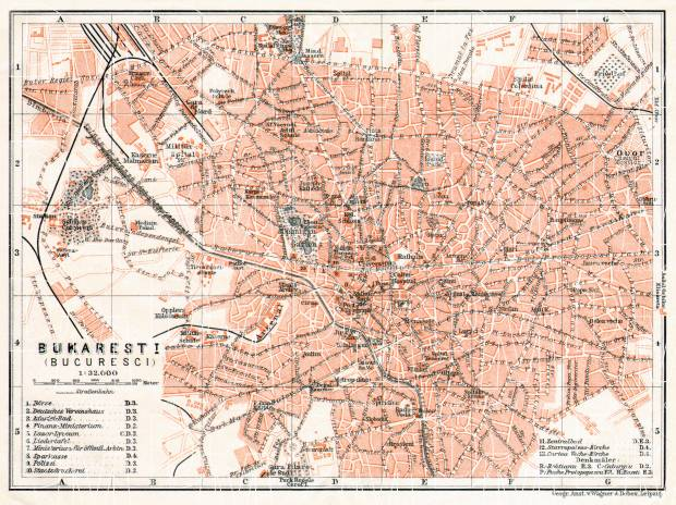 Old map of Bucharest Bucureti in 1911 Buy vintage map replica