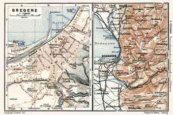 Bregenz city map, 1910. Map of the environs of Bregenz