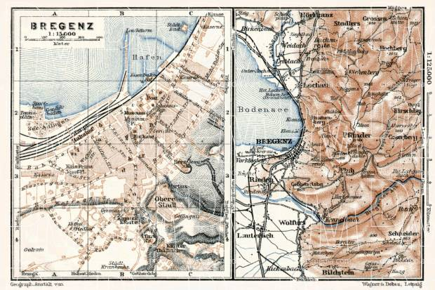 Old map of Bregenz and vicinity in 1910 Buy vintage map replica