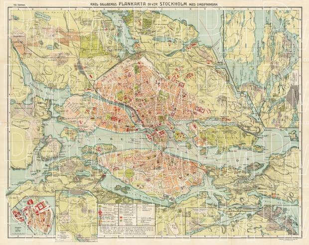 Old map of Stockholm and environs in 1913 Buy vintage map replica