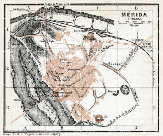 Old map of Mrida in 1913 Buy vintage map replica poster print or
