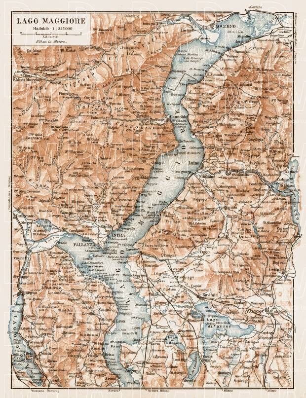 Map of the Maggiore Lake (Lago Maggiore), 1903. Use the zooming tool to explore in higher level of detail. Obtain as a quality print or high resolution image