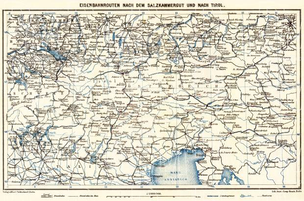 Railway map of Tyrol (Tirol) and Salzkammergut, 1911. Use the zooming tool to explore in higher level of detail. Obtain as a quality print or high resolution image