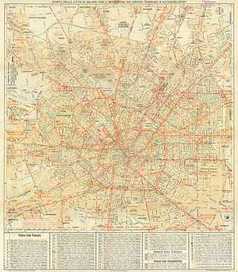 Milan (Milano) city map, 1937