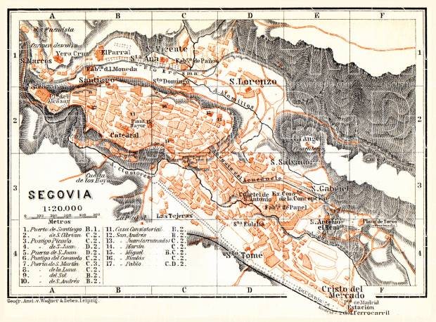 Segovia city map, 1899. Use the zooming tool to explore in higher level of detail. Obtain as a quality print or high resolution image