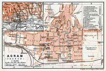 Agram (Zagreb), city map. Agram environs, 1913