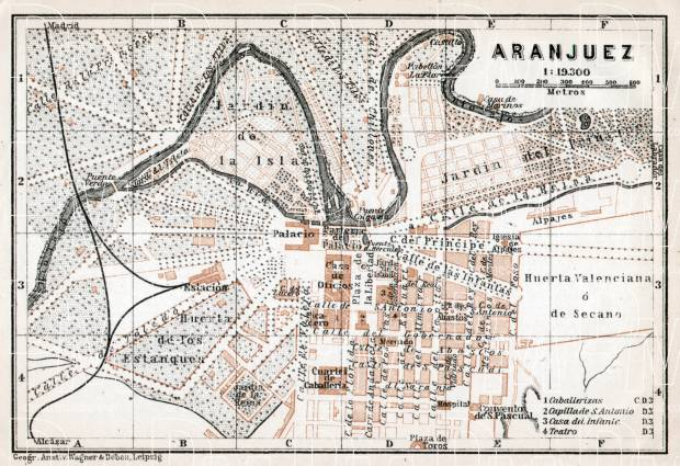 Aranjuez city map, 1913. Use the zooming tool to explore in higher level of detail. Obtain as a quality print or high resolution image