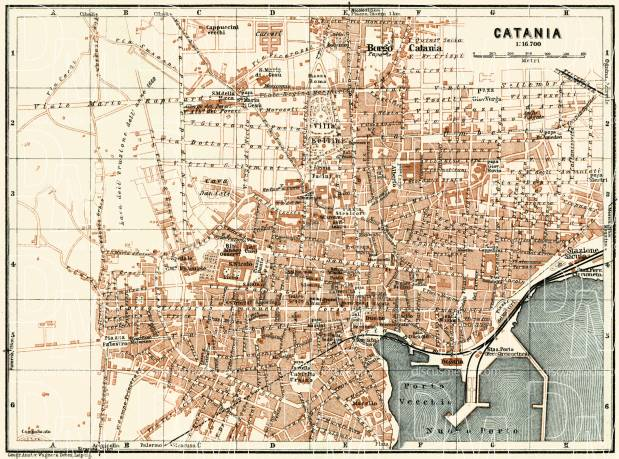 Catania city map, 1929. Use the zooming tool to explore in higher level of detail. Obtain as a quality print or high resolution image