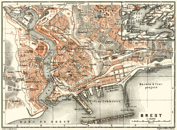 Old map of Brest in 1913 Buy vintage map replica poster print or