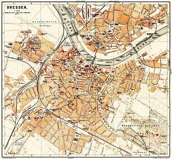 Dresden city map, 1887