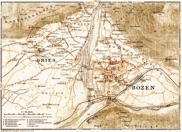 Bolzano (Bozen) and Gries city map, 1906. Use the zooming tool to explore in higher level of detail. Obtain as a quality print or high resolution image