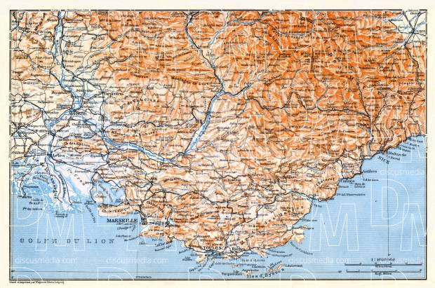 Riviera from Arles through Marseille to Nice map, 1913. Use the zooming tool to explore in higher level of detail. Obtain as a quality print or high resolution image