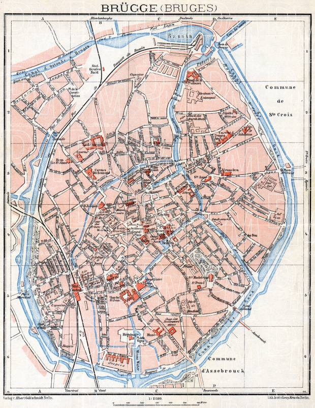 Old map of Brgge Bruges in 1908 Buy vintage map replica poster