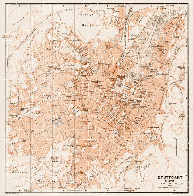 Stuttgart city map, 1909. Use the zooming tool to explore in higher level of detail. Obtain as a quality print or high resolution image