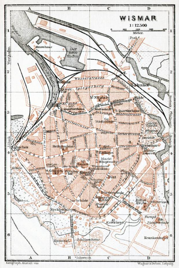 Wismar city map, 1911. Use the zooming tool to explore in higher level of detail. Obtain as a quality print or high resolution image
