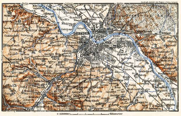 Dresden environs map, 1887. Use the zooming tool to explore in higher level of detail. Obtain as a quality print or high resolution image