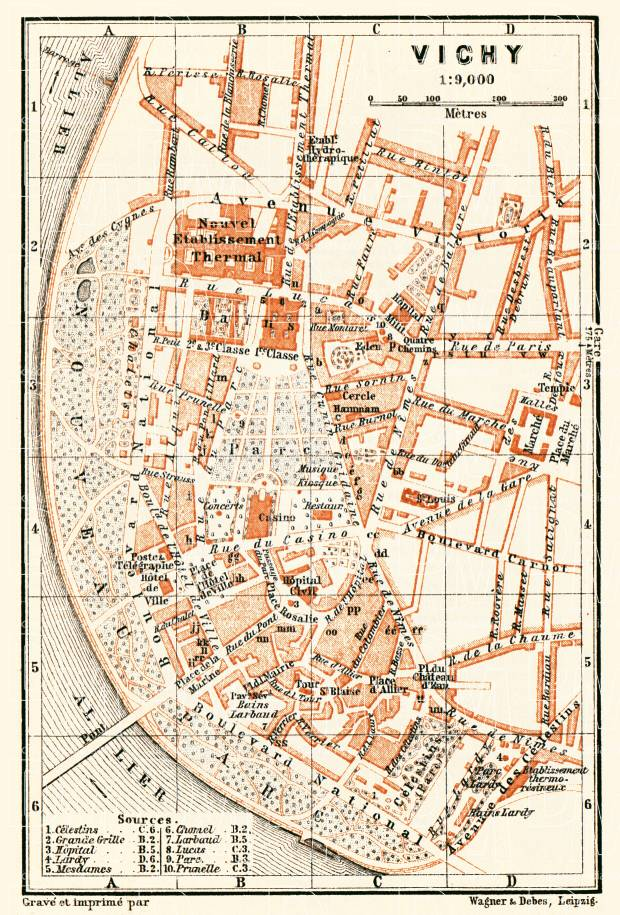 Vichy city map, 1900. Use the zooming tool to explore in higher level of detail. Obtain as a quality print or high resolution image