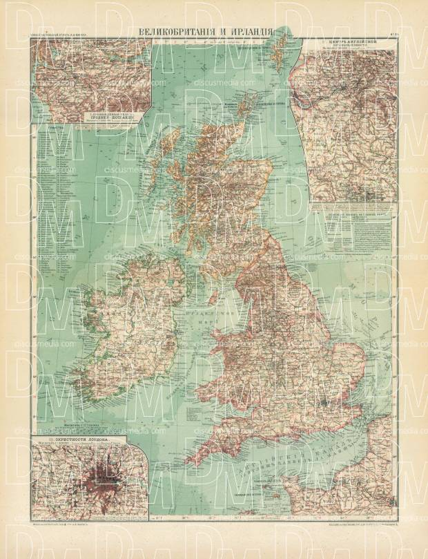 Old map of the British Isles and Ireland in 1910 Buy vintage map