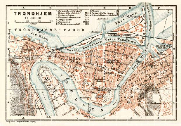 Old map of Trondheim Trondhjem in 1931 Buy vintage map replica